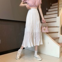 skirt Summer 2021 Average size White, black Mid length dress commute High waist A-line skirt Solid color Type A 18-24 years old Y0314 31% (inclusive) - 50% (inclusive) other cotton Korean version