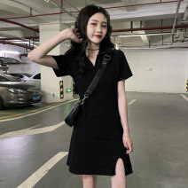 Dress Summer 2021 black Average size Short skirt singleton  Short sleeve commute Polo collar Elastic waist Solid color Socket other other Others 18-24 years old Type H Korean version J0325 31% (inclusive) - 50% (inclusive) polyester fiber