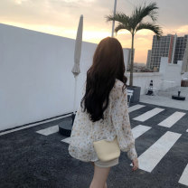 Lace / Chiffon Summer of 2019 Picture color Average size Long sleeves commute Socket singleton  easy Regular Crew neck Decor routine 18-24 years old Korean version 30% and below