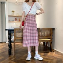 skirt Spring 2021 M, L Black, pink Mid length dress commute High waist A-line skirt lattice Type A 18-24 years old Y0311 31% (inclusive) - 50% (inclusive) Korean version