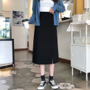 skirt Autumn of 2019 S,M,L Gray, black Short skirt commute High waist A-line skirt Solid color 18-24 years old Stitching, 3D