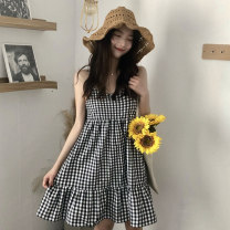 Dress Summer 2020 Picture color Average size Short skirt singleton  Sleeveless commute square neck Loose waist lattice Socket Big swing other camisole 18-24 years old Type A Korean version Lotus leaf edge G0320 51% (inclusive) - 70% (inclusive) cotton