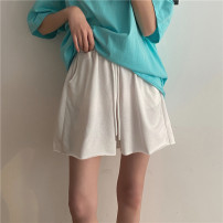 Casual pants Gray, white, black S,M,L Summer 2021 shorts Wide leg pants High waist commute routine 18-24 years old 31% (inclusive) - 50% (inclusive) Y0411 Korean version