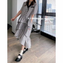 Dress Summer 2021 Picture color S,M,L tailored collar Button, zipper