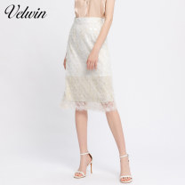 skirt Summer 2020 155/S/36 160/M/38 165/L/40 Ben White (V1) Mid length dress High waist A-line skirt Solid color Type A 25-29 years old JEBB374F10 velwin Sequins