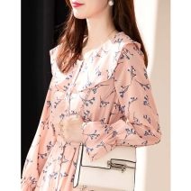 Dress Spring 2021 printing S M L XL longuette singleton  Long sleeves commute V-neck High waist Decor Socket routine 30-34 years old Type A Teyhant printing T022104 More than 95% Chiffon other Other 100% Pure e-commerce (online only)
