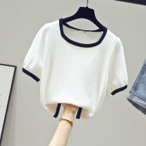T-shirt Average size Summer 2020 Short sleeve square neck Self cultivation have cash less than that is registered in the accounts routine commute other 96% and above 25-29 years old Korean version classic Solid color matching Beauty of cotton Other 100% Pure e-commerce (online only)