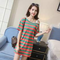 T-shirt 47311 18-24 years old other 96% and above Short sleeve Summer of 2019 Medium and long term Straight collar easy routine commute Other 100% Charming catkins Korean version printing 8007 * green 8007 * Red M L XL 2XL