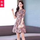 Dress Autumn 2020 Red yellow M L XL Middle-skirt singleton  elbow sleeve commute stand collar High waist other other other Others 25-29 years old Type A Red ink TM2020C-10-8037 More than 95% other other Other 100% Pure e-commerce (online only)