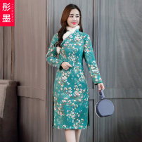 Dress Winter of 2019 Picture color S M L XL XXL longuette singleton  Long sleeves Sweet stand collar High waist Decor Socket A-line skirt routine Others 30-34 years old Red ink Printed wool collar TM19D22-006251 More than 95% other Other 100% Pure e-commerce (online only)
