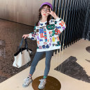 suit Guldoeleph / Gudong elephant Han fan letter sweater + elastic Leggings 120cm 130cm 140cm 150cm 160cm 170cm female spring Korean version Long sleeve + pants 2 pieces Thin money There are models in the real shooting Socket nothing letter cotton children Expression of love TZ0433 Class B