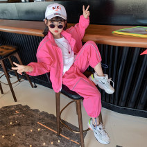 suit Guldoeleph / Gudong elephant Han Fan leisure sports suit 120cm 130cm 140cm 150cm 160cm 170cm female spring Korean version Long sleeve + pants 2 pieces Thin money There are models in the real shooting Zipper shirt nothing Solid color chemical fiber children Expression of love TZ0450 Class B