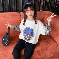 T-shirt White stripe sleeve letter T-shirt Navy Stripe sleeve letter T-shirt Guldoeleph / Gudong elephant 120cm 130cm 140cm 150cm 160cm 170cm female spring Long sleeves Crew neck Korean version There are models in the real shooting nothing cotton letter Cotton 100% SY0210 Class B Sweat absorption