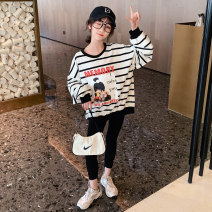 suit Guldoeleph / Gudong elephant WHITE STRIPE TOP + Stretch Leggings Black Striped Top + Stretch Leggings 120cm 130cm 140cm 150cm 160cm 170cm female spring Korean version Long sleeve + pants 2 pieces Thin money There are models in the real shooting Socket nothing stripe cotton children TZ0445