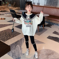 suit Guldoeleph / Gudong elephant Han Fan baby collar cartoon sweater + letter Leggings 120cm 130cm 140cm 150cm 160cm 170cm female spring Korean version Long sleeve + pants 2 pieces Thin money There are models in the real shooting Socket nothing Cartoon animation cotton children Expression of love