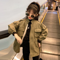 """Plain coat Guldoeleph / Gudong elephant female 110cm 120cm 130cm 140cm 150cm 160cm Hanfan chaoku zipper coat Hanfan chaoku zipper coat """"thickened Winter Edition"""" spring and autumn Korean version Zipper shirt There are models in the real shooting routine nothing Solid color cotton Crew neck WT0260"""