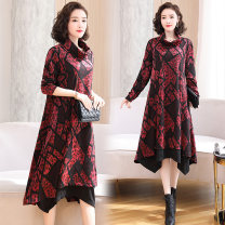 Dress Autumn 2020 Red, green M,L,XL,2XL,3XL,4XL Mid length dress singleton  Long sleeves commute High collar middle-waisted Abstract pattern Socket Big swing routine Others Type H Ol style YYG82591 More than 95% other other