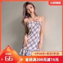 Dress Summer 2021 blue S,M,L Short skirt singleton  Sleeveless street other High waist lattice other Ruffle Skirt other Hanging neck style 18-24 years old Type A Ruffles, open back, bandage, make old K21D00732 91% (inclusive) - 95% (inclusive) other polyester fiber Europe and America
