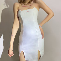 Dress Autumn 2020 white S,M,L Short skirt singleton  Sleeveless street other High waist Solid color other Pencil skirt Breast wrapping 18-24 years old Type A Patching, patching K20D10603 81% (inclusive) - 90% (inclusive) other polyester fiber Europe and America