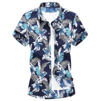 shirt Youth fashion Others M,L,XL,2XL,3XL,4XL,5XL,6XL,7XL Red, blue routine square neck Short sleeve standard Other leisure summer Large size Youthful vigor 2021 Broken flowers Color woven fabric washing cotton Arrest line shape memory  More than 95%