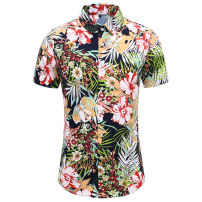 shirt Youth fashion Others M,L,XL,2XL,3XL,4XL,5XL,6XL,7XL Blue, Navy routine Pointed collar (regular) Short sleeve standard Other leisure summer Large size Youthful vigor 2021 Broken flowers Color woven fabric washing cotton Arrest line shape memory  More than 95%