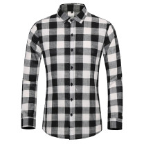 shirt Youth fashion Others M,L,XL,2XL,3XL,4XL,5XL,6XL,7XL Gray, black routine Pointed collar (regular) Long sleeves standard Other leisure spring Large size Youthful vigor 2021 lattice Color woven fabric washing cotton Arrest line shape memory  More than 95%