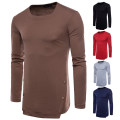 T-shirt Youth fashion Red, light gray, black, Navy, coffee routine S,M,L,XL,2XL AOWOFS Long sleeves Crew neck Self cultivation Other leisure spring Cotton 65% polyester 35% Button decoration Cotton polyester