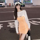 Dress Autumn 2020 orange S M L Short skirt Fake two pieces Long sleeves commute One word collar High waist other Socket Pencil skirt routine camisole 18-24 years old Type X A shy child Korean version Open back stitching S4171 More than 95% brocade polyester fiber Pure e-commerce (online only)