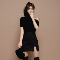 Dress Summer 2020 S M L XL Short skirt Two piece set Long sleeves commute stand collar High waist Solid color Socket Pencil skirt routine Breast wrapping 18-24 years old Type X A shy child Korean version Button zipper More than 95% brocade polyester fiber Pure e-commerce (online only)