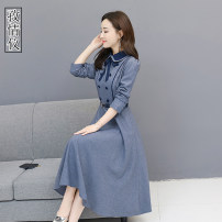 Dress Autumn of 2019 blue S M L XL 2XL 3XL Mid length dress Long sleeves commute Doll Collar middle-waisted Solid color zipper Big swing routine Others 35-39 years old Love instrument Korean version ZQY2019H1633 More than 95% other other Other 100% Pure e-commerce (online only)