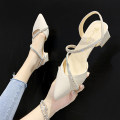 Low top shoes 35 36 37 38 39 Chrysanthemum bath Beige Pink Sharp point PU Thick heel Middle heel (3-5cm) Shallow mouth PU Summer 2021 Trochanter Korean version Adhesive shoes Youth (18-40 years old) Solid color rubber Single shoes Diamond thick heel PU leisure time Face dressing
