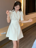 Dress Summer 2021 White black S M L XL Mid length dress singleton  Short sleeve commute tailored collar High waist Solid color Single breasted A-line skirt puff sleeve Others 25-29 years old Type A zoqo Korean version Button ZQ82987Z-DY More than 95% other Other 100% Pure e-commerce (online only)