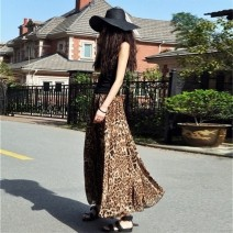 skirt Summer 2021 Average size 90 long Leopard brown, leopard color, leopard purplish red longuette street Natural waist Pleated skirt Leopard Print Type A More than 95% Chiffon AYAH other Pleat, fold, print Europe and America
