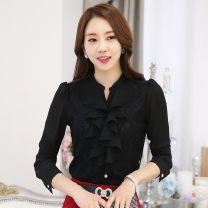 Lace / Chiffon Autumn of 2019 S,M,L,XL,2XL,3XL Long sleeves commute Cardigan singleton  Self cultivation Regular V-neck Solid color puff sleeve 30-34 years old 1601# Korean version