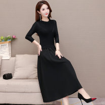 Dress Autumn 2020 black M L XL Mid length dress Fake two pieces three quarter sleeve commute Crew neck middle-waisted Solid color Socket A-line skirt routine Others 35-39 years old Type A Joulify Korean version pocket AH20A190 More than 95% polyester fiber Other polyester 95% 5%