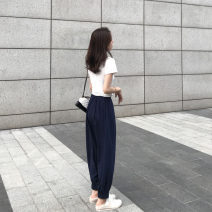 Dress Summer 2021 White top + Navy radish Pants Black Top + Navy radish pants S M L XL Mid length dress Two piece set Short sleeve commute Crew neck High waist Solid color Socket routine Others 18-24 years old Snow Europe pocket More than 95% other Other 100% Pure e-commerce (online only)
