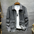 Jacket Youth fashion grey S M L XL 2XL routine Self cultivation Travel? Four seasons Long sleeves Wear out Lapel tide teenagers routine Single breasted other washing Closing sleeve Solid color Denim Autumn 2020 Arrest line Digging bags with lids Pure e-commerce (online only) cotton