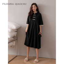 Nightdress Qiao Chu 160(M) 165(L) 170(XL) Simplicity Short sleeve Leisure home longuette summer Solid color youth Crew neck cotton lace More than 95% pure cotton Summer 2021 Cotton 100% Pure e-commerce (online only)