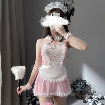Fun pajamas polyester fiber Other / other Lace maid suit Pink (excluding stockings), pink + stockings, pink + stockings + feather stick, black (excluding stockings), black + stockings, black + stockings + feather stick, green (excluding stockings), green + stockings, green + stockings + feather stick