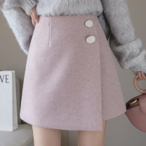skirt Winter of 2019 S,M,L,XL Black, beige, pink Short skirt Versatile High waist A-line skirt Solid color Type A 25-29 years old 91% (inclusive) - 95% (inclusive)