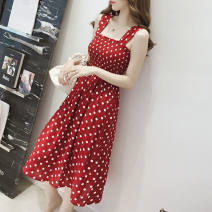 Dress Spring 2021 Red, black, white vest S,M,L,XL,2XL Middle-skirt singleton  Sweet One word collar routine camisole 18-24 years old Other / other 51% (inclusive) - 70% (inclusive) Chiffon other