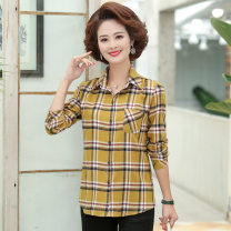 Middle aged and old women's wear Spring 2021 Black, yellow, coffee XL [recommended 80-100 kg], XXL [recommended 100-120 kg], 3XL [recommended 120-135 kg], 4XL [recommended 135-150 kg], 5XL [recommended 150-165 kg] fashion shirt easy singleton  lattice 40-49 years old Cardigan moderate Polo collar