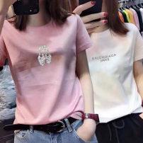 T-shirt S,M,L,XL,2XL Autumn 2020 Short sleeve Crew neck easy Regular routine commute cotton 30% and below Korean version originality Printed with diamond
