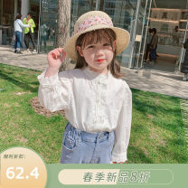 shirt white Pudding Haru female The height of 80 yards is about 80cm, 90 yards is about 90cm, 100 yards is about 100cm, 110 yards is about 110cm, 120 yards is about 120cm, 130 yards is about 130cm, 140 yards is about 140cm, 150 yards is about 150cm spring and autumn Long sleeves Korean version other