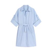 Dress Summer 2021 sky blue Average size Mid length dress singleton  Short sleeve commute square neck Loose waist Solid color Socket routine Type H
