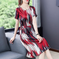 Dress Summer 2021 Black stripe , Blue stripe , Red stripe L,XL,2XL,3XL,4XL Mid length dress singleton  Short sleeve commute Crew neck middle-waisted stripe Socket A-line skirt routine Type A Brother amashsin Ol style Z0972 51% (inclusive) - 70% (inclusive) other silk