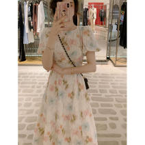 Dress Summer 2020 Sunflower (quick delivery in stock) S,M,L longuette singleton  Short sleeve commute Crew neck Decor A button puff sleeve 18-24 years old Lace up, tie, button Lace