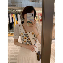 Dress Summer 2020 Three dimensional embroidery long skirt (spot quick), three dimensional embroidery short skirt (spot quick), three dimensional embroidery top (spot quick) XS,S,M,L Mid length dress singleton  Short sleeve commute square neck High waist puff sleeve Others 18-24 years old Type A