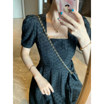 Dress Summer 2020 XS,S,M,L Short skirt singleton  Short sleeve commute square neck High waist Solid color zipper A-line skirt puff sleeve Others 18-24 years old Type A zipper