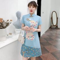 cheongsam Summer 2021 XXL,XXXL,M,L,XL,4XL sky blue Short sleeve Single cheongsam grace No slits daily Oblique lapel lattice Piping cotton 81% (inclusive) - 90% (inclusive)